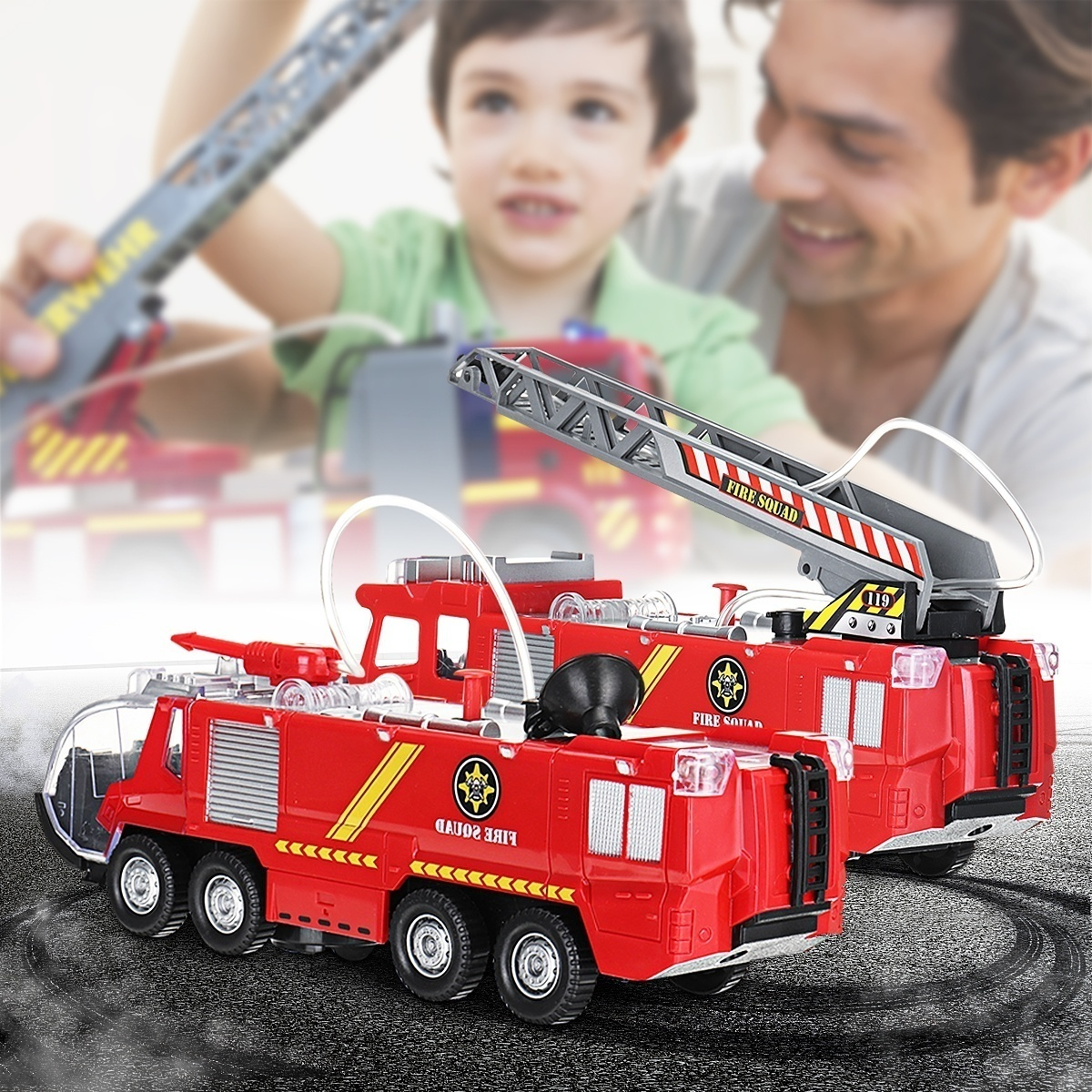 Toy Car with water sprey and music Firefighters Fire Engines Electric Sam with Music Colorful Lights Christmas Gift Learning Toys