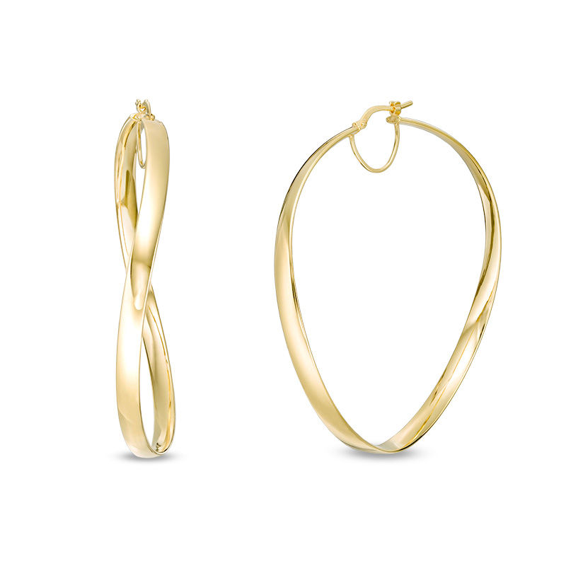 Made in Italy 60.0mm Wavy Hoop Earrings in 14K Gold
