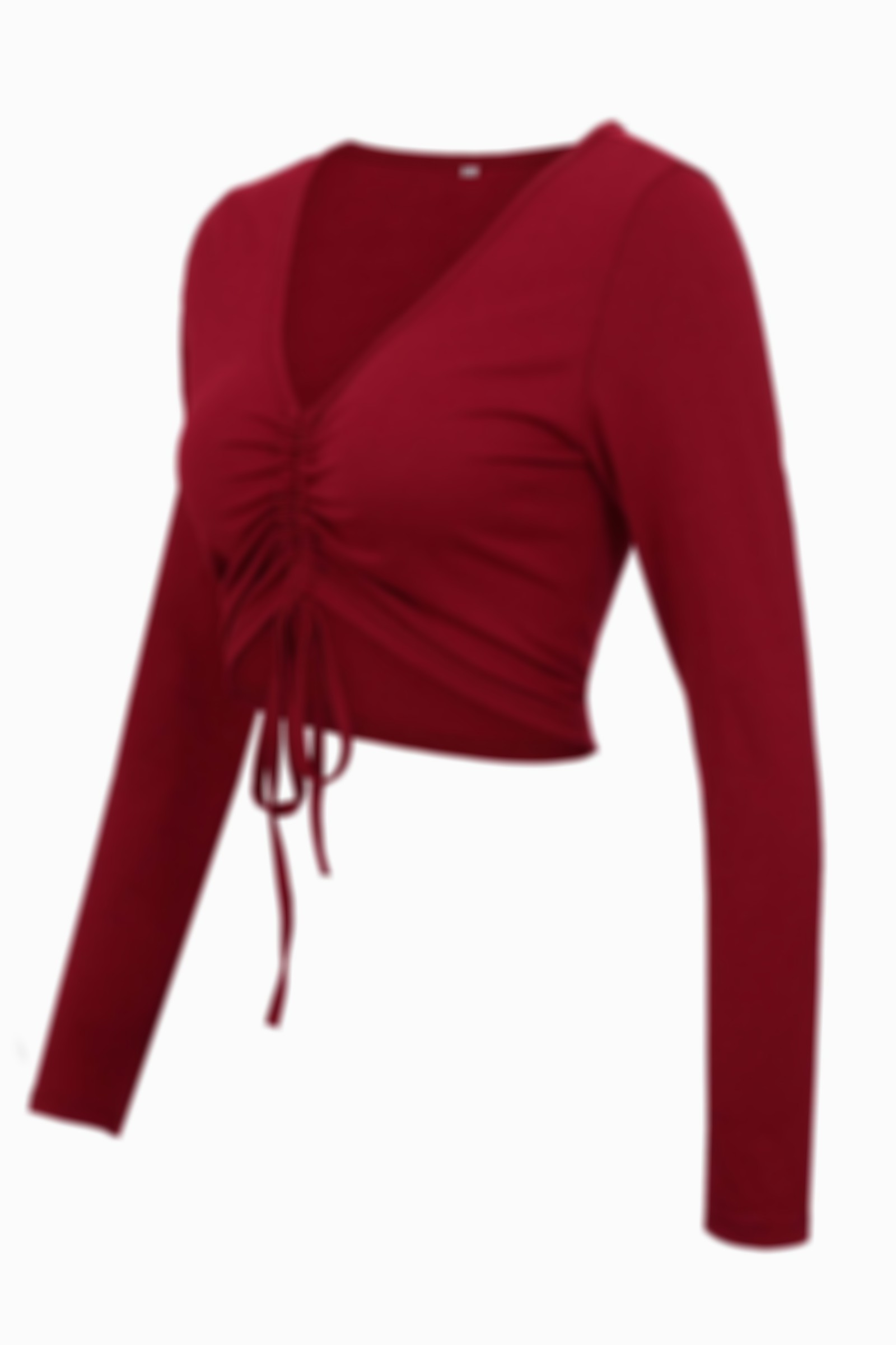 V-Neck Tight-Fitting Long-Sleeved Umbilical Lace-Up Top
