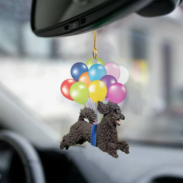 Black Poodle fly with bubbles dog hanging ornament