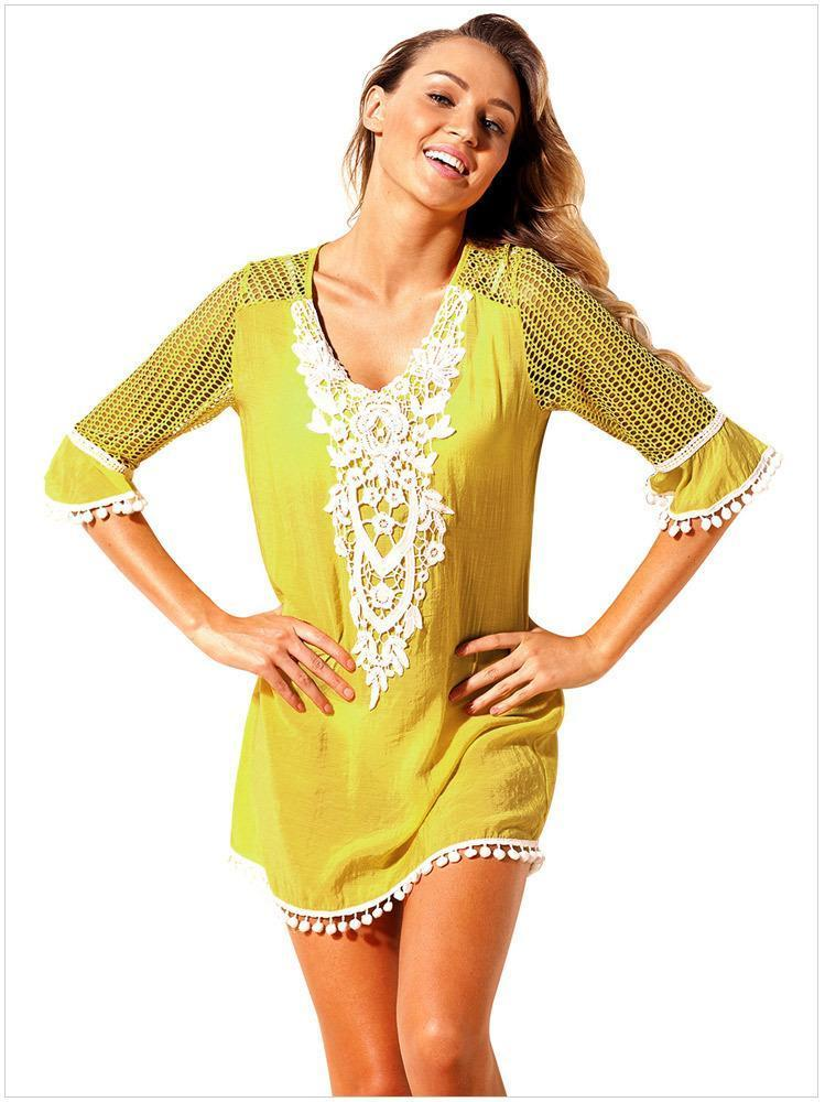 Lace Flowers Five Point Sleeve V Neck Beach Dress