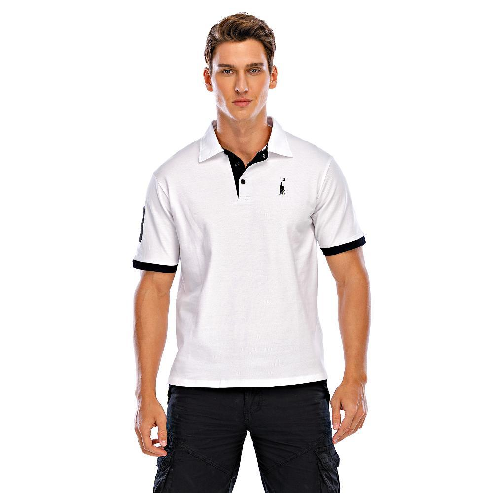 Men's Plus Size Polo Graphic Solid Colored Animal Embroidered Tops Basic Shirt Collar Wine White Black / Short Sleeve