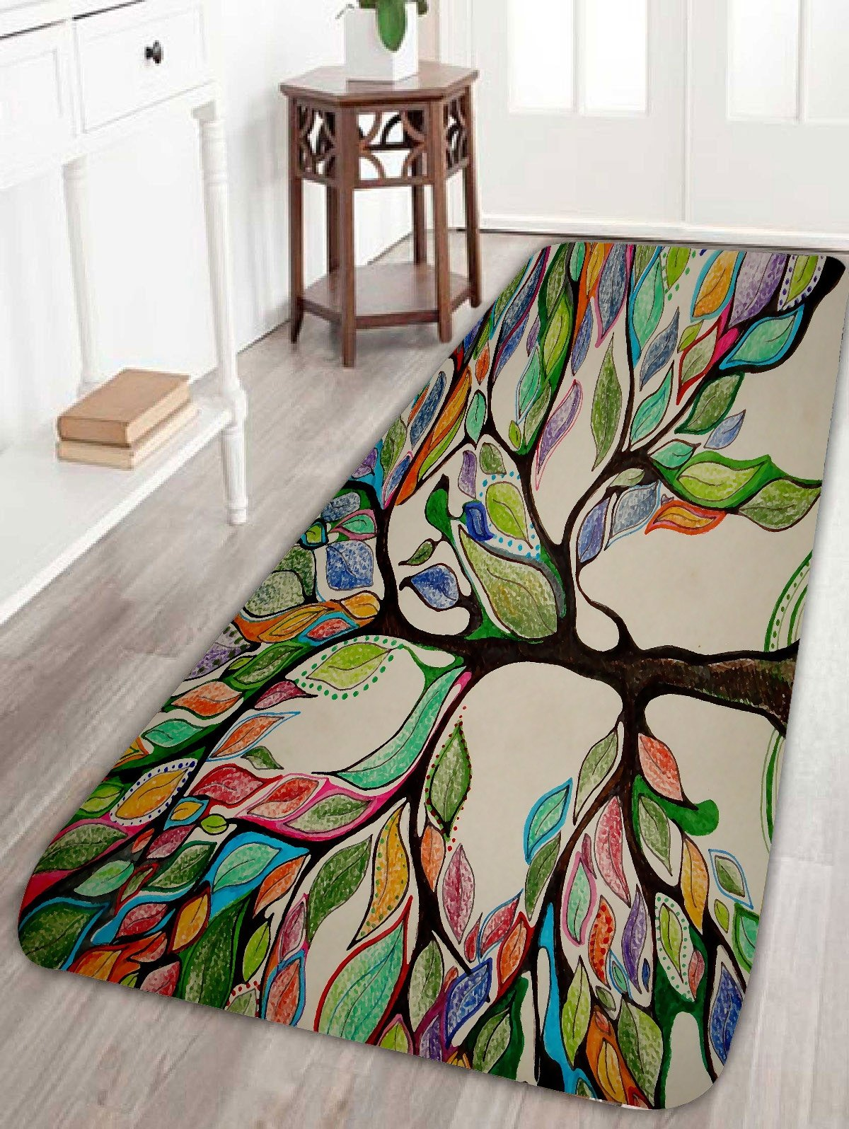 Colorful Tree Print Fleece Bath Rug