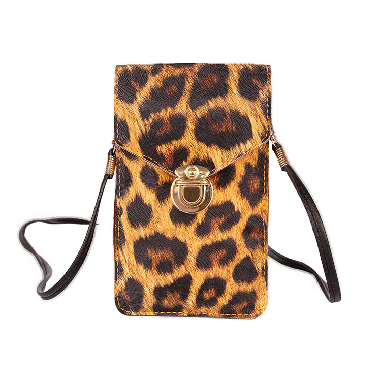 Christmas Special - 7.5 × 5 Inch Waterproof Gold Lock Touch Screen Purse With Clear Window - Leopard Print