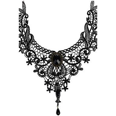 Women's Crystal Choker Necklace Pendant Necklace Beads Ladies Personalized Tassel Vintage Synthetic Gemstones Crystal Lace Black Necklace Jewelry For Wedding Party Halloween Daily Casual Sports