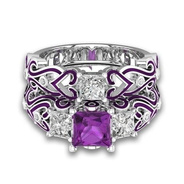 1PC/2PCs Classic Design Engagement Couple Rings Purple Titanium Steel Men's Ring Filled Amethyst Sapphire Zircon Women's Ring