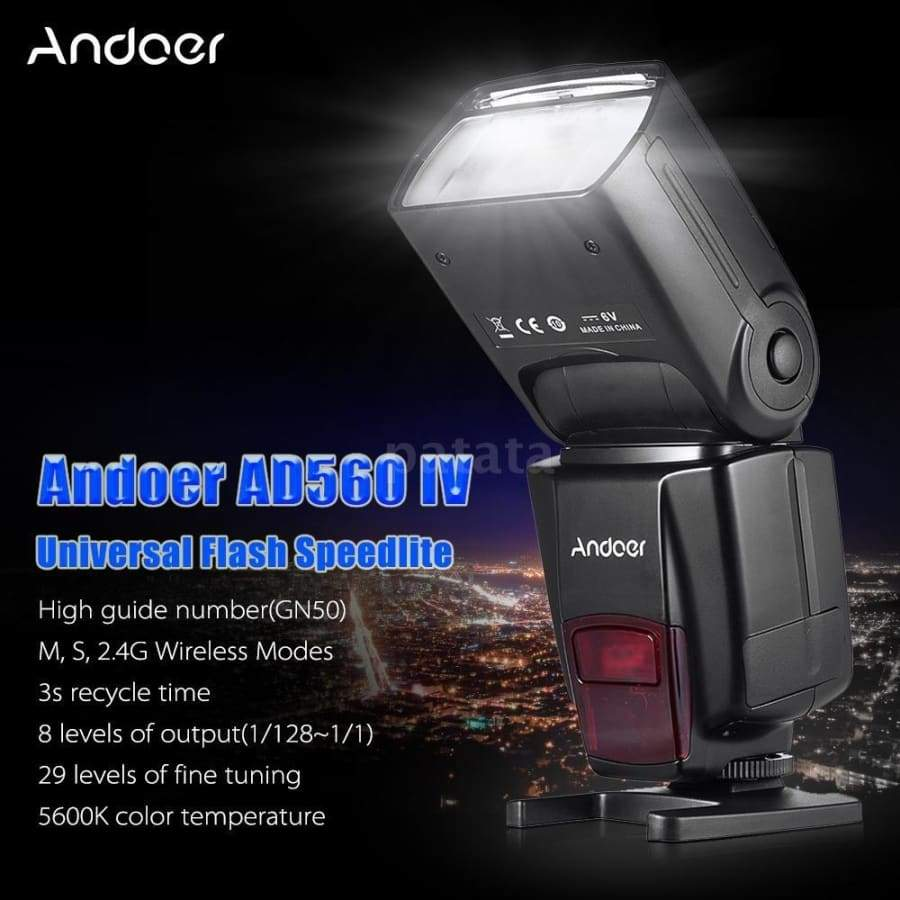 Andoer AD560 IV 2.4G Wireless Universal On-camera Slave Speedlite Flash Light GN50 with Flash Trigger for Canon Nikon for Sony A7/ A7 II/ A7S/ A7R/ A7S II DSLR Cameras