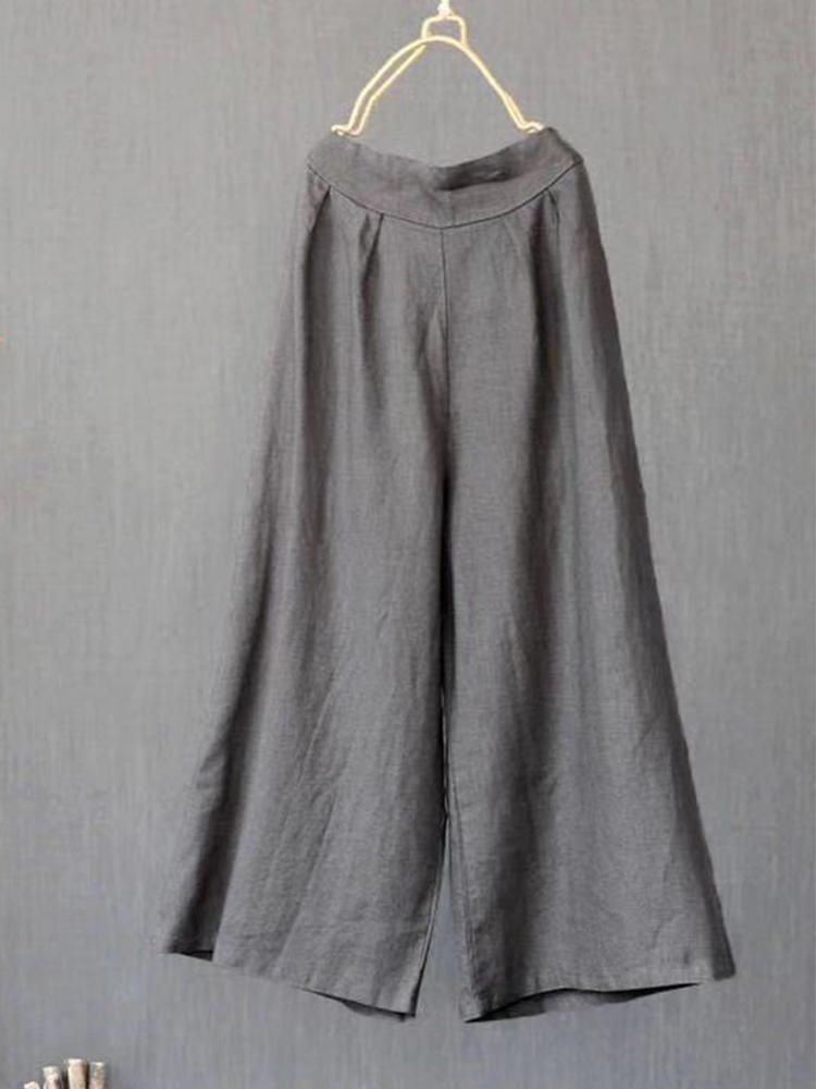 Cotton and Linen Loose High Waist Casual Pants