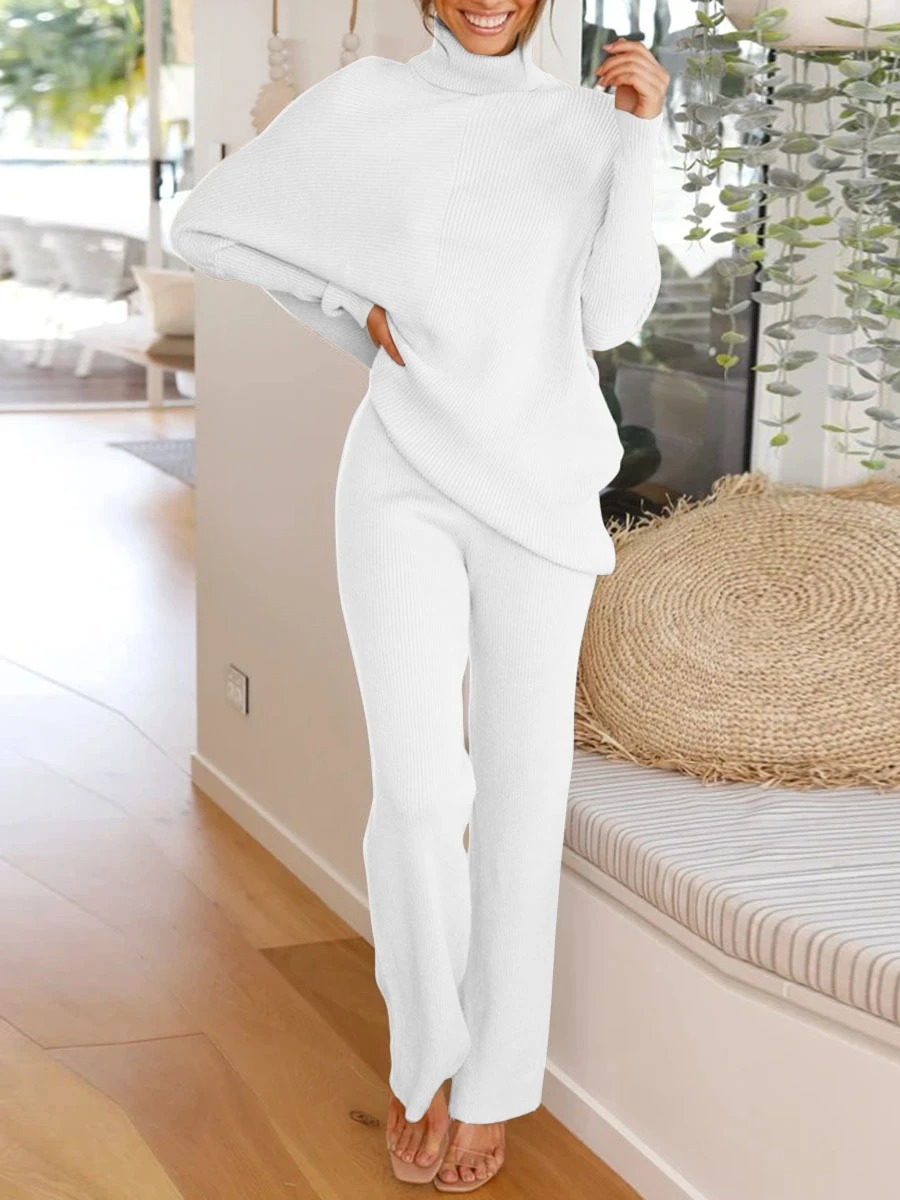 Simple Casual Loose Round Neck Long Sleeved Knitted Suit