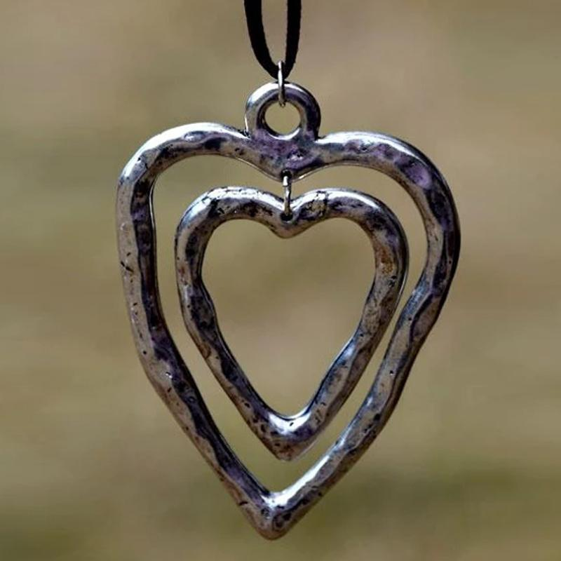 Alloy Peach Heart Pendant Necklace