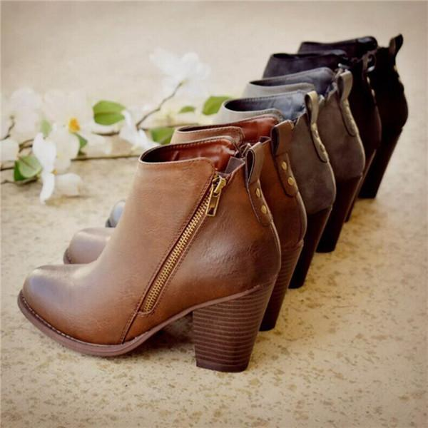 Trendymap Daily Fashion Mid Heel Boots