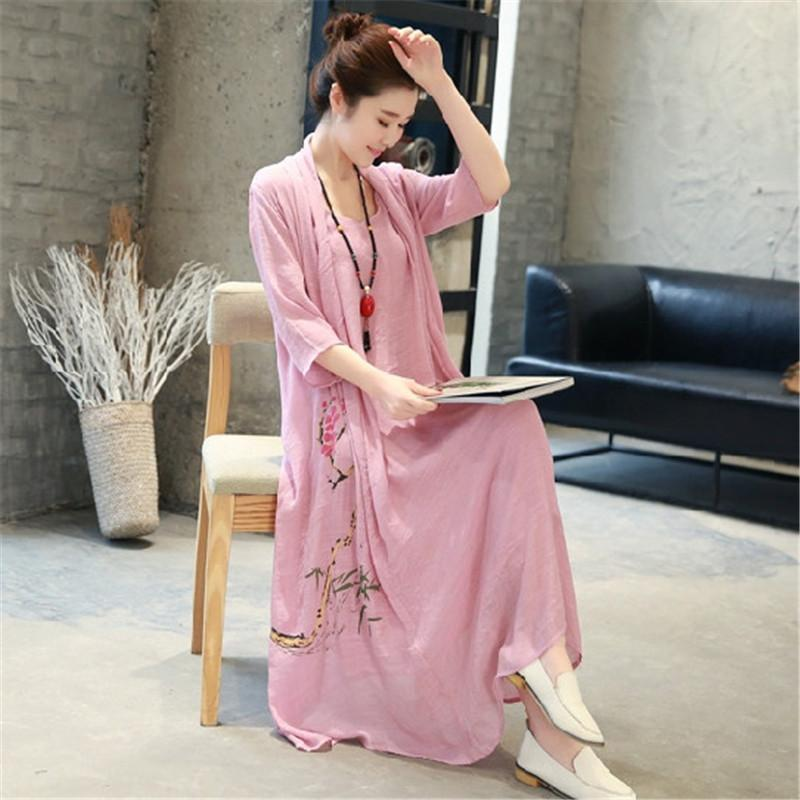National style loose and elegant fake two-piece printed cotton and linen midi dress