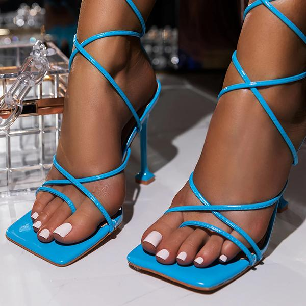 Zoeyootd Around-The-Ankle Lace-Up Closure Open Squared Toe Heels