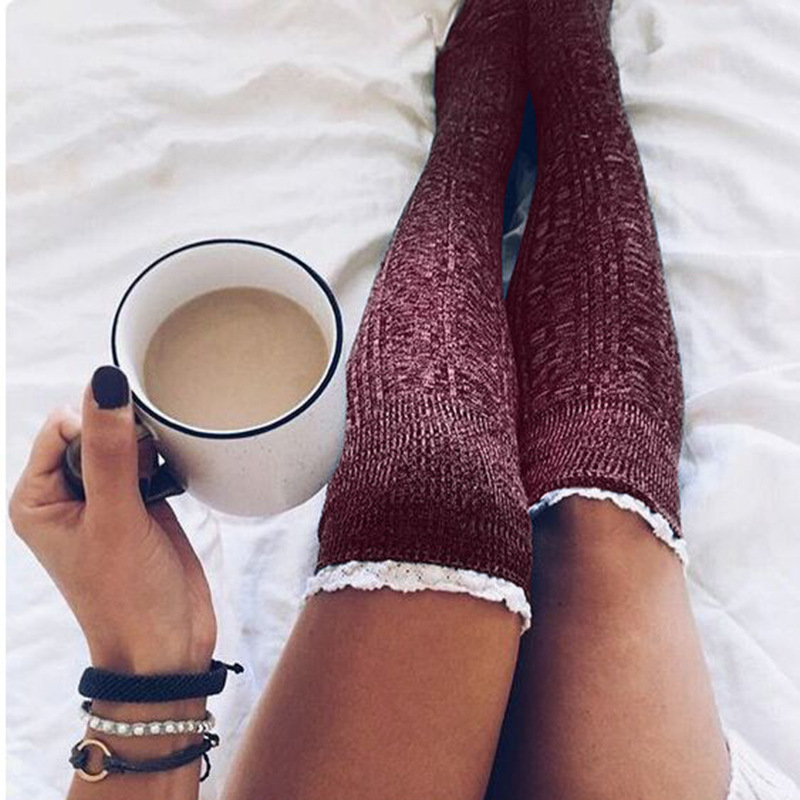 Lace Solid Knitted Thigh-High Socks