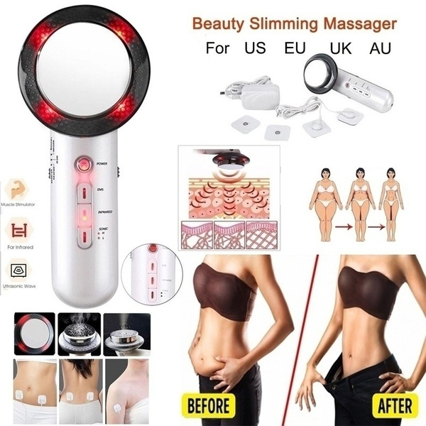 2020 New Upgrade 3 In 1 Infrared Ultrasonic Slimming Kit Body Face Lift Tools Beauty Apparatus Fat Burner Weight Loss Anti-Cellulite Infrared Therapy Massage Tool