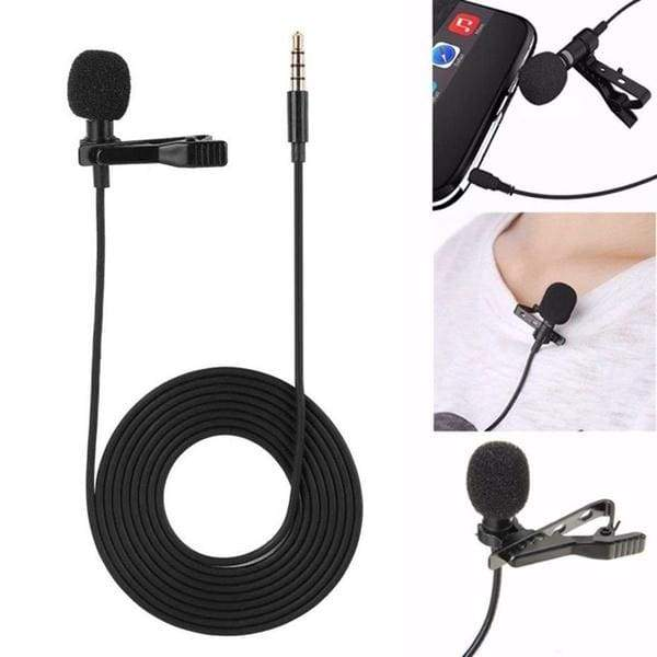 Portable microphone Clip on Omnidirectional Lavalier Lapel Condenser Microphone Mic for Phone Laptop With Artificial Leather Bag
