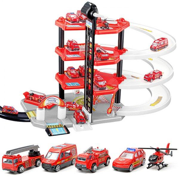 258 DIY Puzzle Toy Rail Car Four-storey Fire Parking Lot Building Block for Children - Red