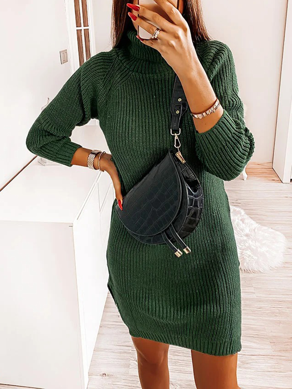 Women'S Autumn And Winter Knitted Sexy Multicolor Simple Sexy Dress