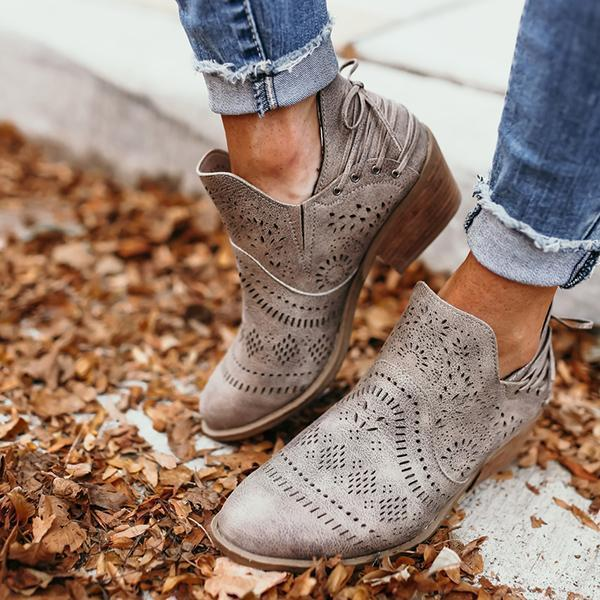 Faddishshoes Laser Cutout Ankle Booties