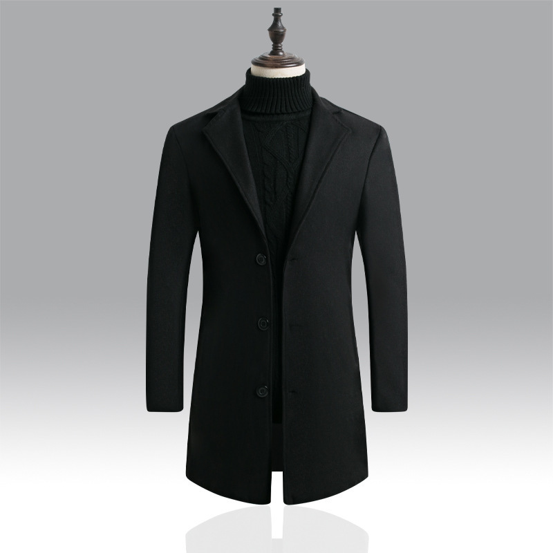 Italy-branded male medium-long coat