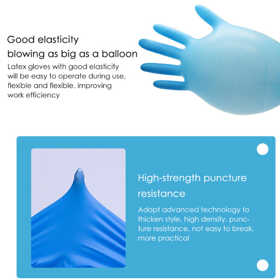 Blue Nitrile Disposable Gloves (Ship from United States)