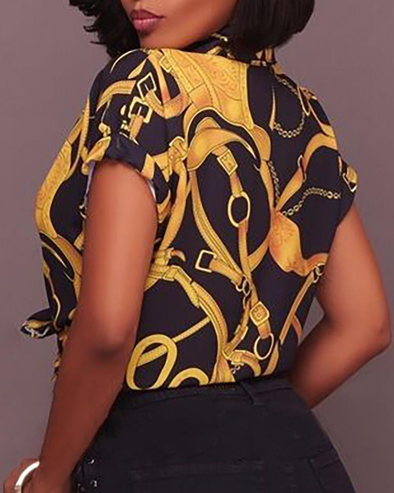 Short Sleeve Knotted Chain Print Blouse