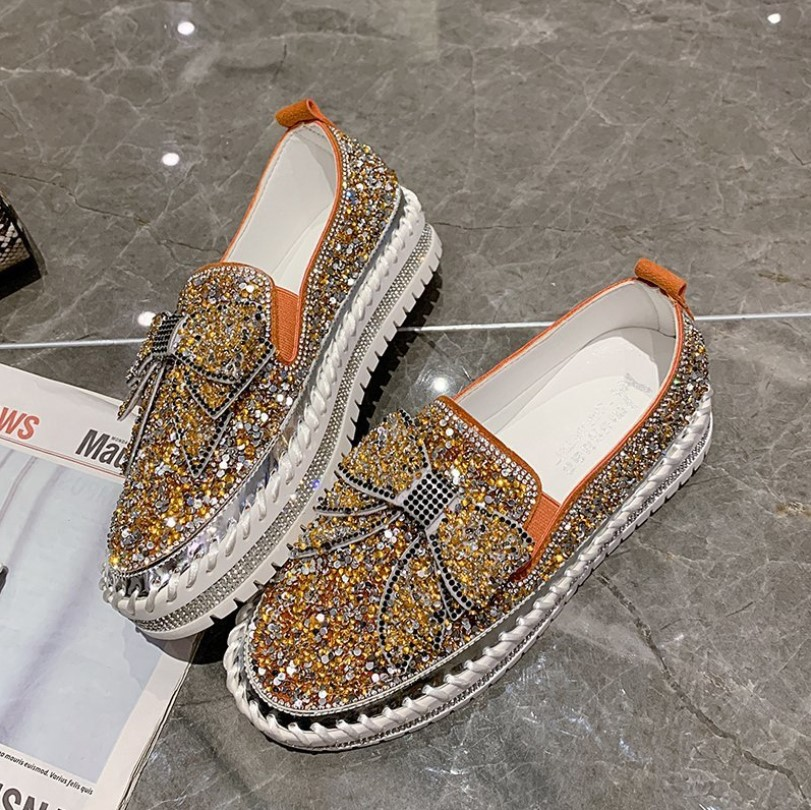 Bling Bling Rhinestone Chic Bowknot Slip-on Bowknot Flats(Please go up 1 Size)