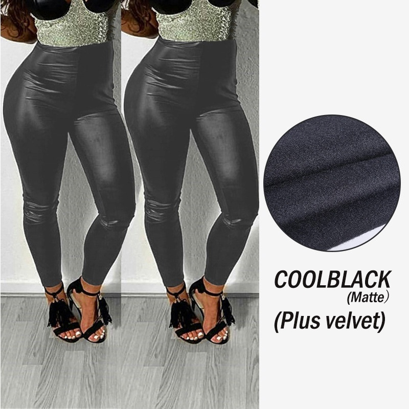 NEW Women's Fashion Large Size Tight Leather High Waist Elastic PU Leather Pants Leggings Black(Can Choose Plus Velvet)