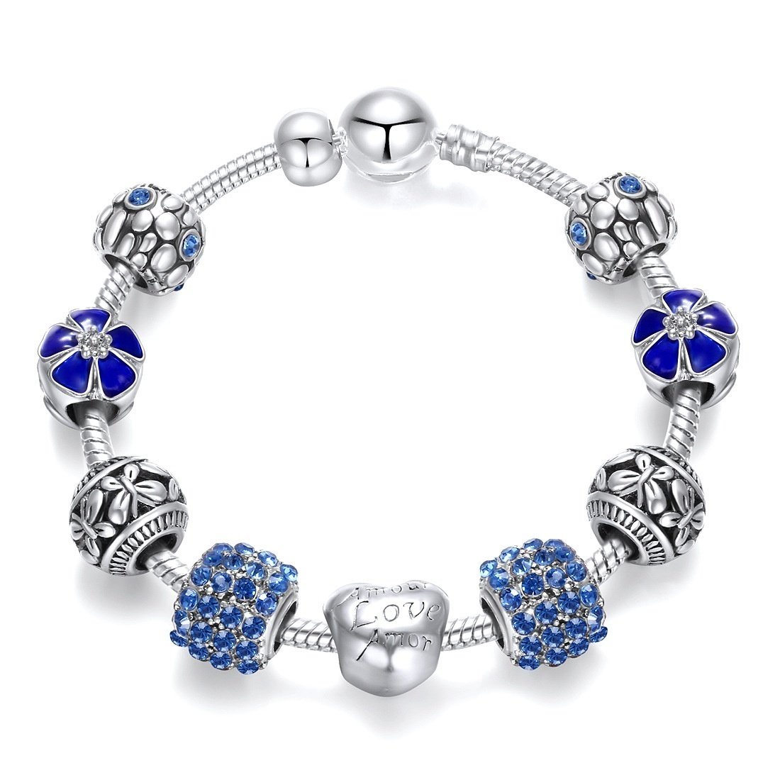 925 Fashion Silver Charms Bracelet Bangle for Women Crystal Flower Beads Fit Pandora Bracelets Jewelry