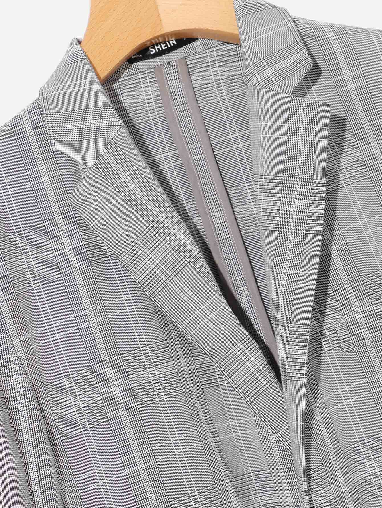 Men Patch Pocket Front Plaid Blazer