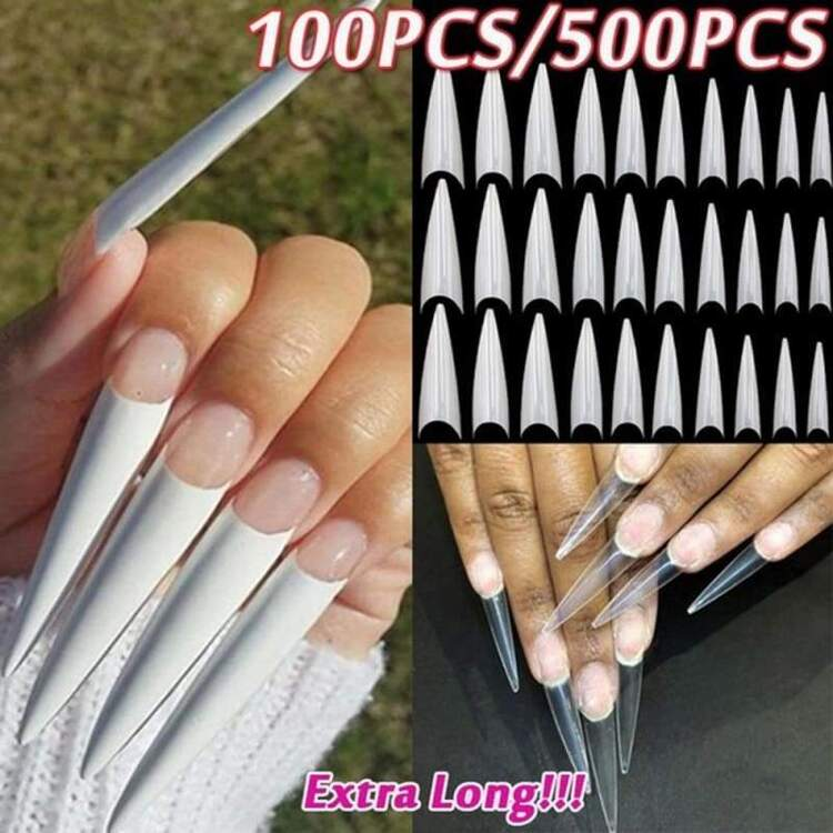 3Colors DIY French Stiletto Half Style UV Gel Manicure False Nail Tips Fake Nails Beauty Tools