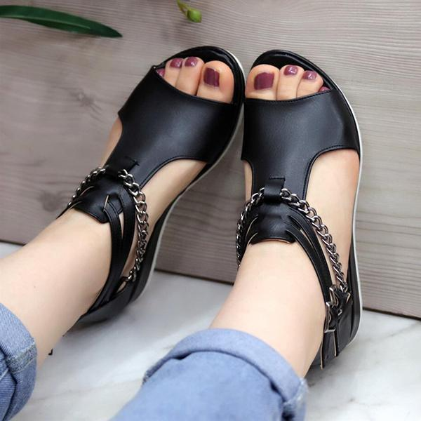 Lemmikshoes Casual Cool Chain Wedge Heel Sandals