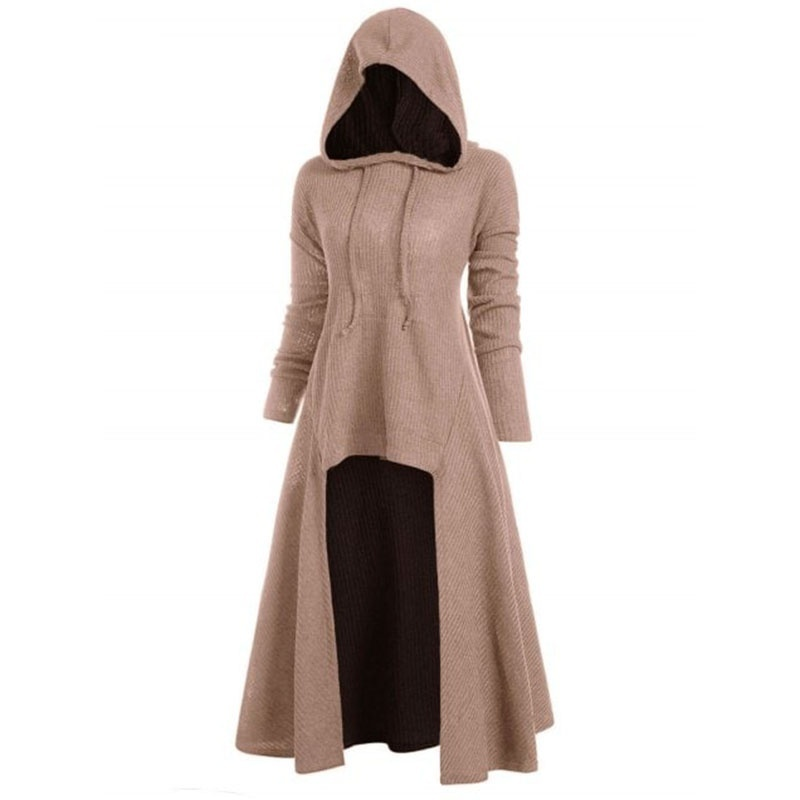 6 Color Large Size Autumn  New Color Large Size  Warm Cosplay Hooded Dress Medieval Solid Color Dress Gothic Dress  Long Sleeve Elegant Vintage Dress Performance Clothing 0S~5XL