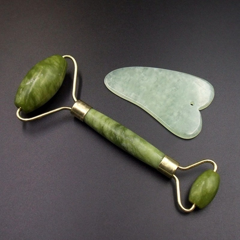 New Skin Care Tool Portable Green Jade Double Head Facial Relax Eye Neck Care Slimming Tool Roller Massager