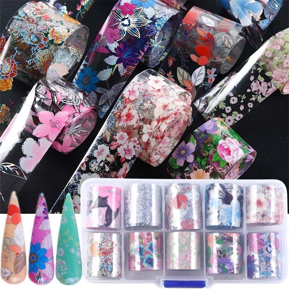 10 Type/set 3d Floral Print Starry Sky Lace Flower Adhesive Manicure Decor Holographic Decals Nail Art Stickers Nail Foil