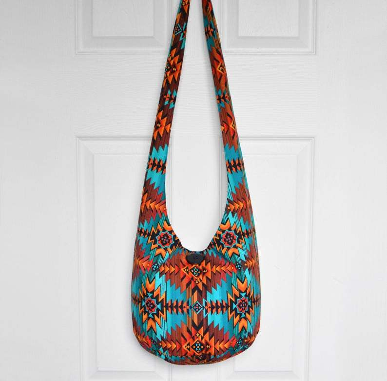 Southwestern Boho Bag Hobo Bag Fabric Crossbody Bag Handmade Hippie Purse Cotton Sling Bag Boho Purse Hippie Bag Bohemian Bag Made to Order        Update your settings