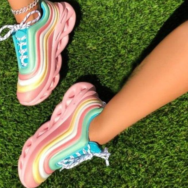 Women's fashion rainbow colorful sneakers multicolor striped running shoes for summer