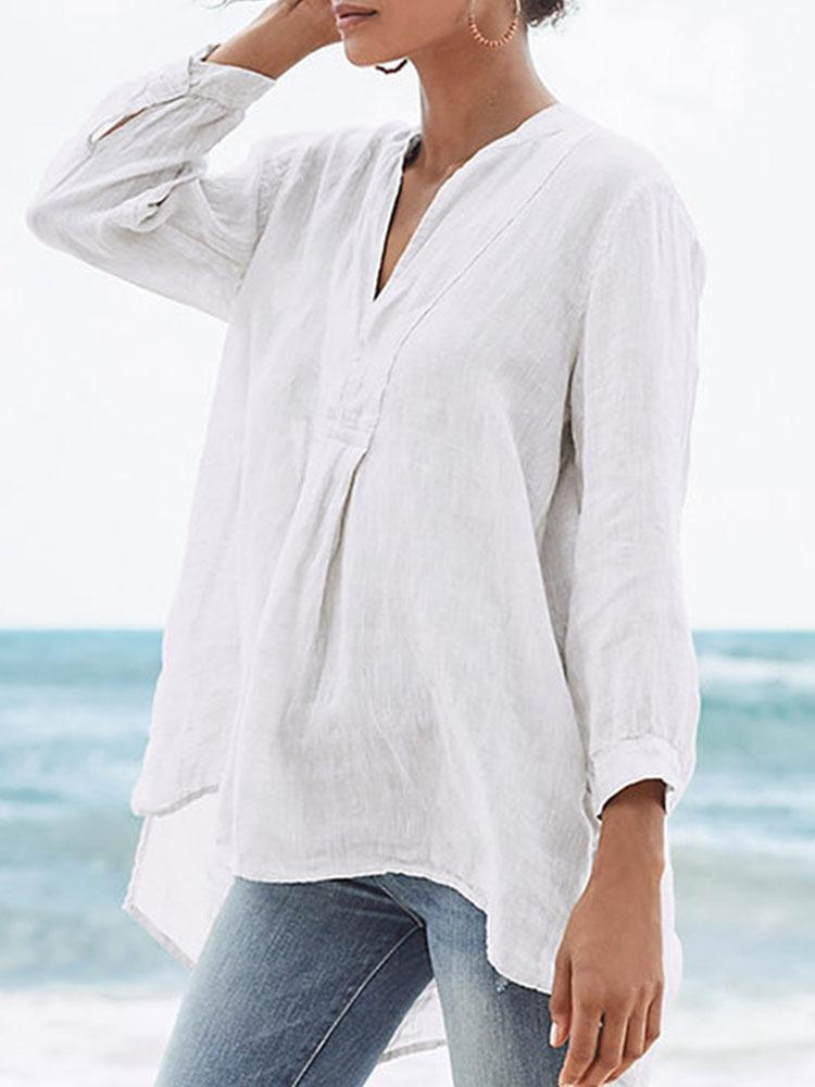Women's Thin Sand Solid Color 9-point Sleeves T-shirt