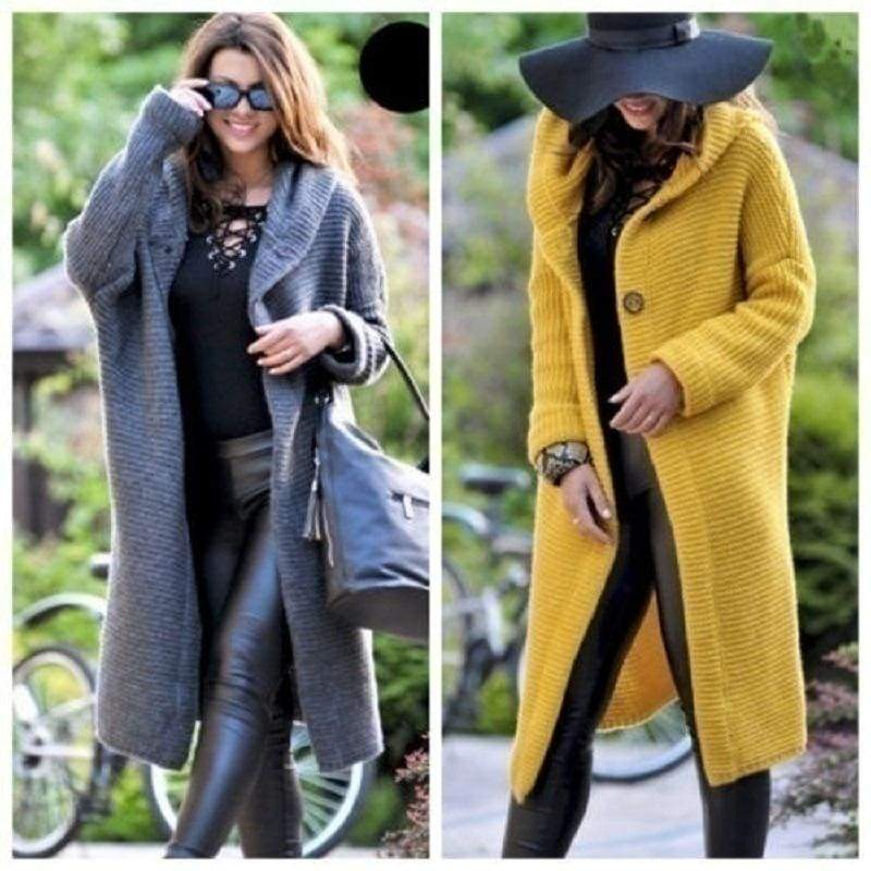 Women Hooded Coat Cashmere Cardigan Sweater Coat Lady Solid Color Coat Thick Soft Fashion Jacket Long Plus Size Overcoat
