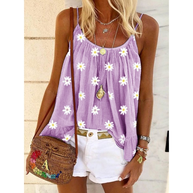 Women's Summer Sleeveless Blouses Casual Sling Stitching Print Camisole Tank Tops Printed Shirts Large Size Loose Vest
