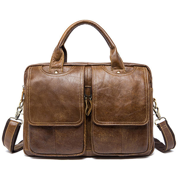 Men Genuine Leather Vintage 14 Inches Laptop Bag Business Bag Briefcase Crossbody Bag - Brown