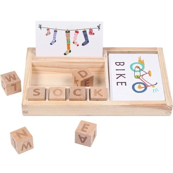 SKRTEN 3-in-1 Wooden Alphabet Cubes Cards English Spell Learning