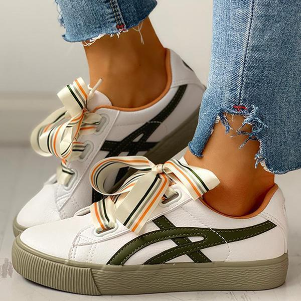 Faddishshoes Colorful Ribbon Lace-Up Casual Sneakers
