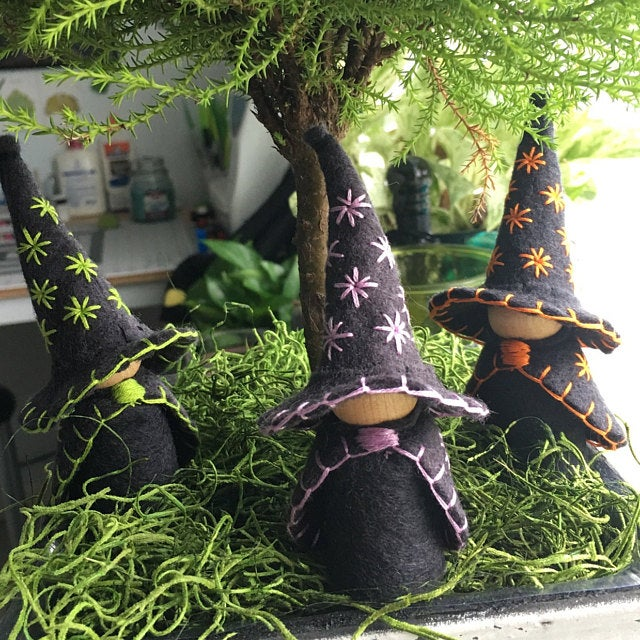 The Three Little Wooden and Wool Felt Witches