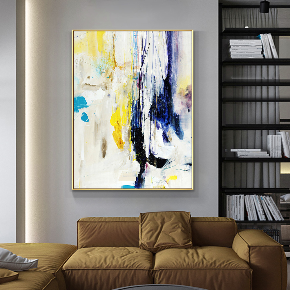YQ Abstract Hand Painted Oil Painting On Canvas Handmade Modern Abstract Landscape Wall Art Painting For Living Room Home Decor