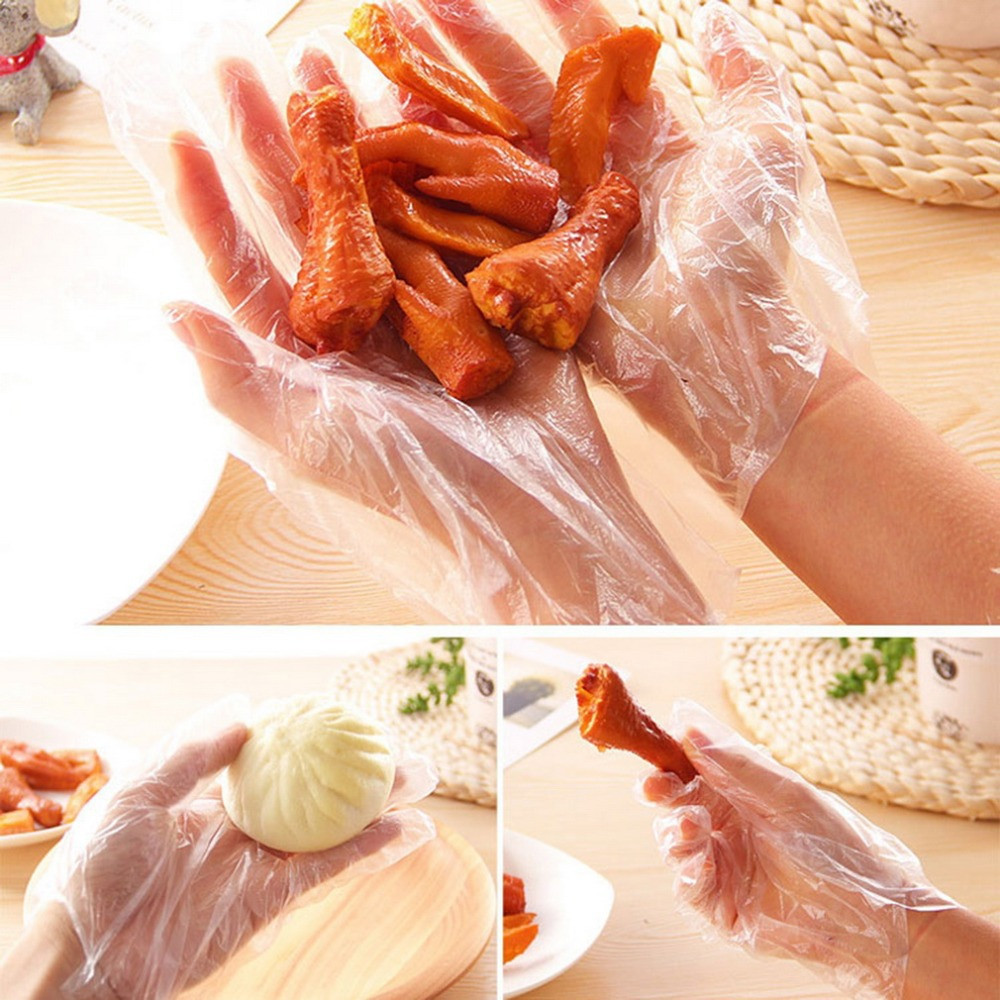Aroetop 100 Pcs Clear Plastic Disposable Gloves Food Grade Gloves