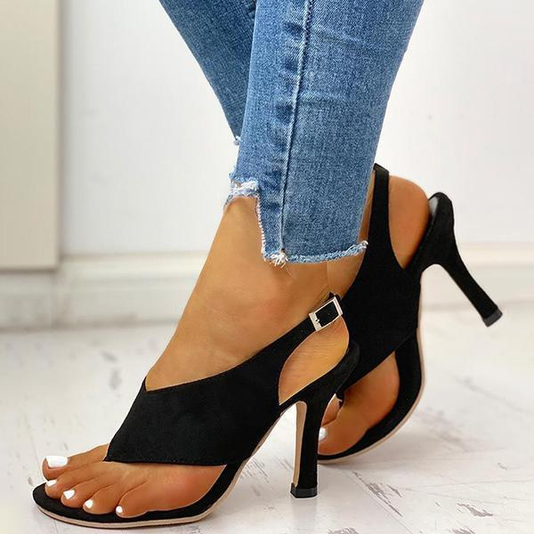 Faddishshoes Toe Post Slingback Thin Heeled Sandals