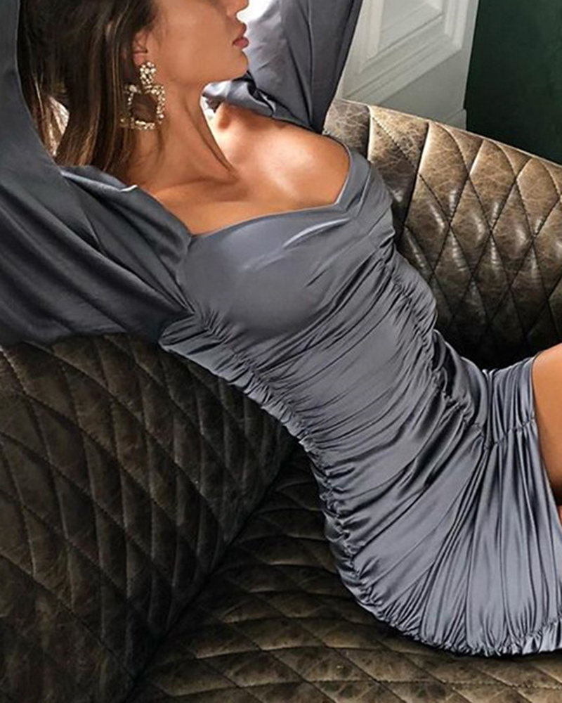 Off-The-Shoulder Long-Sleeved Mini Casual Dress