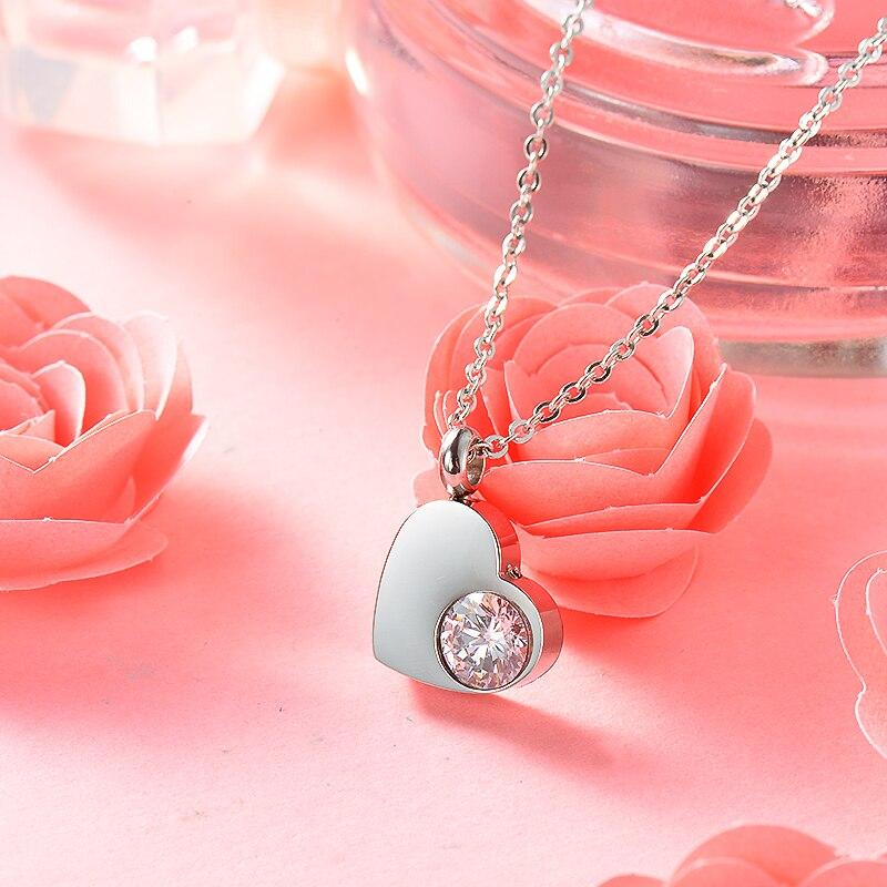 BAOYAN Simple Elegant CZ Crystal Heart Necklaces Vintage Women Necklace Jewelry Silver Color Stainless Steel Necklaces For Women