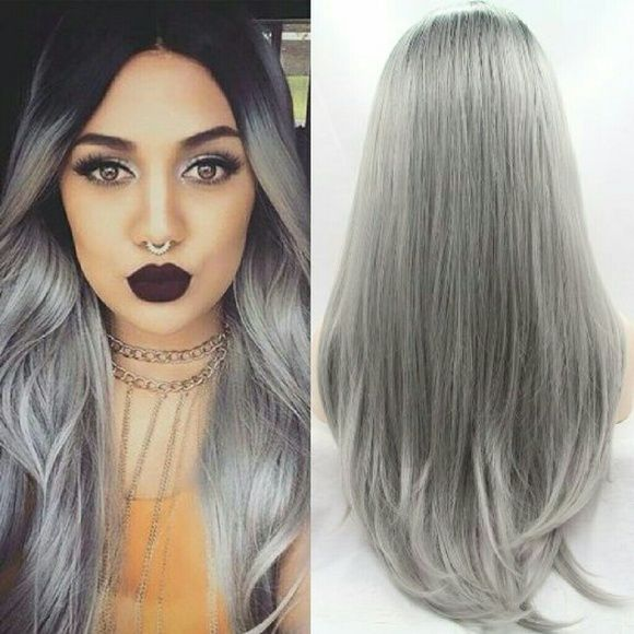 2020 Best Lace Front Wigs Grey Hair Cut Brown To Grey Ombre Gray Wigs And Hair Pieces Green Ombre Lace Front Wig